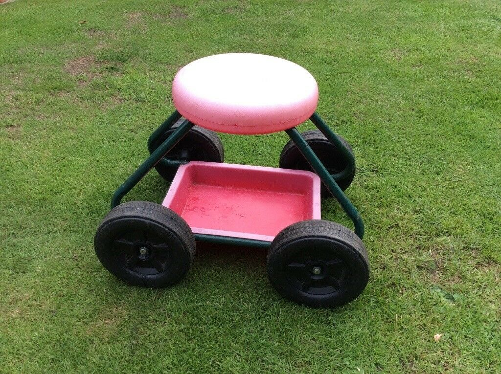 Lightweight Garden Cart Trolley On Wheels With Seat And Tool Storage Tray