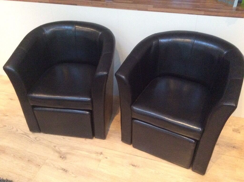 Pair Of Faux Leather Tub Chairs With Matching Footstool