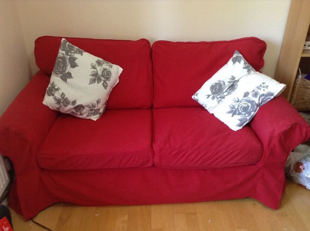 Good Condition Red Ikea Ektorp Sofa   Fully Removable, Machine Washable  Covers.