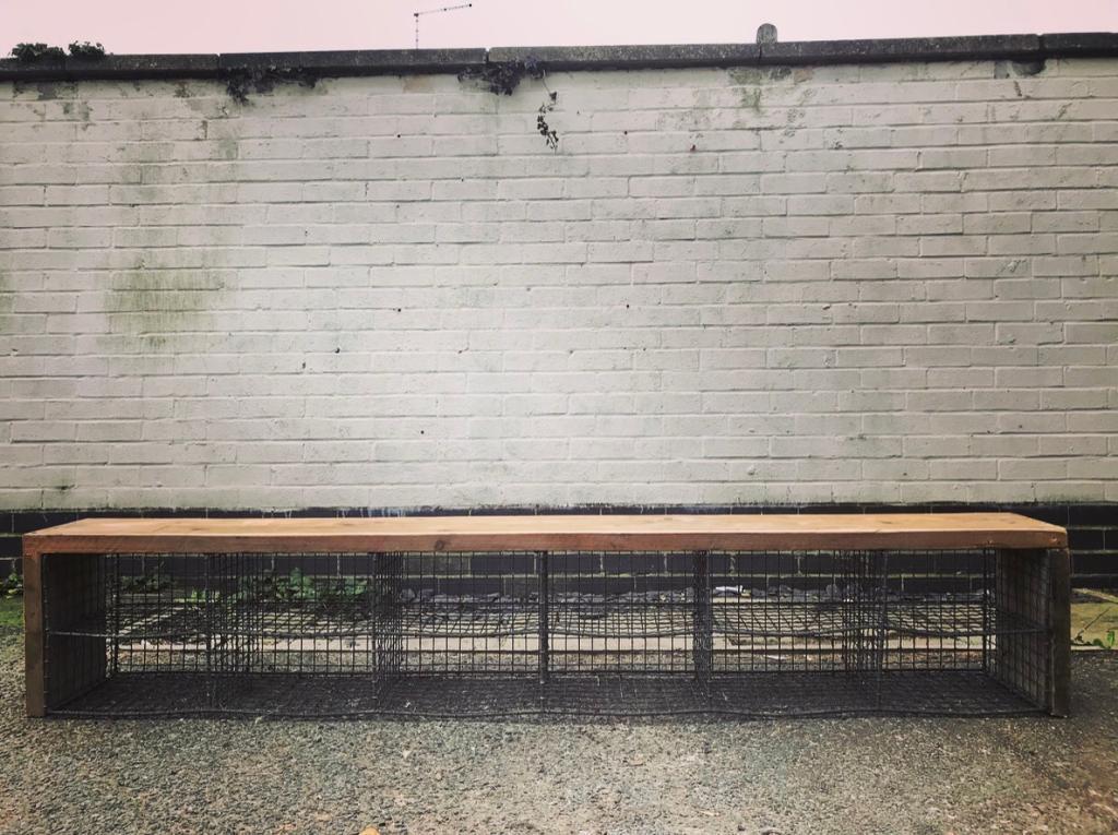 Stunning Handmade Vintage School Locker Room Cage Shoe Storage Bench