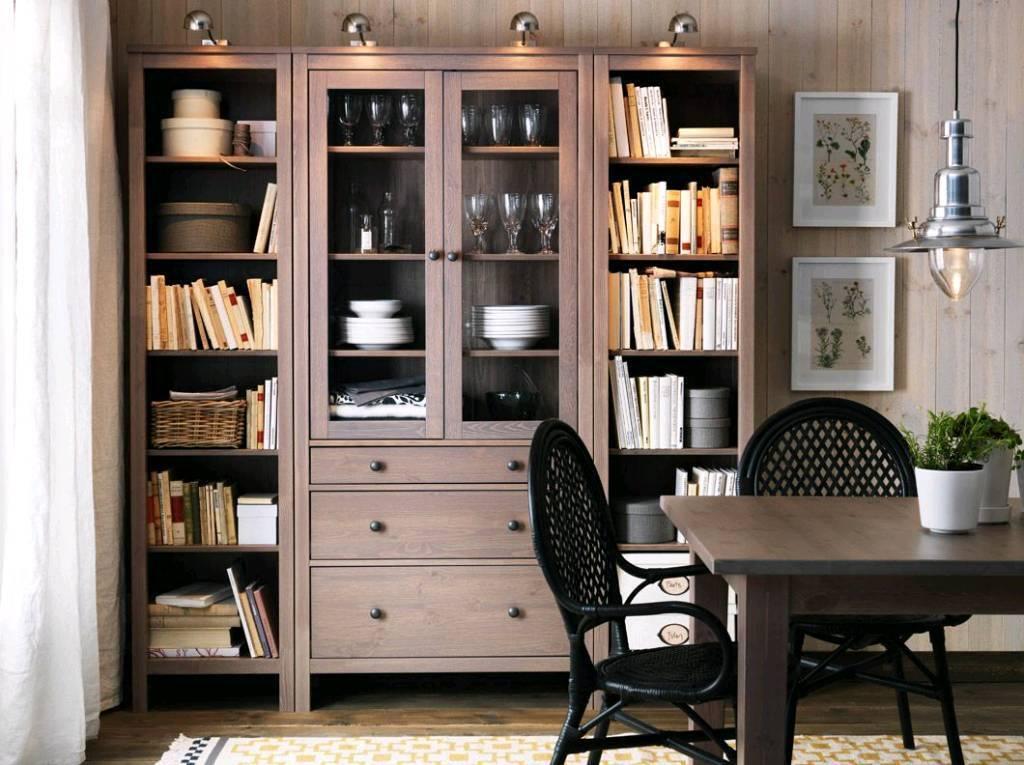 IKEA Hemnes Cabinet Glass Doors + 3 Drawers In Grey Brown