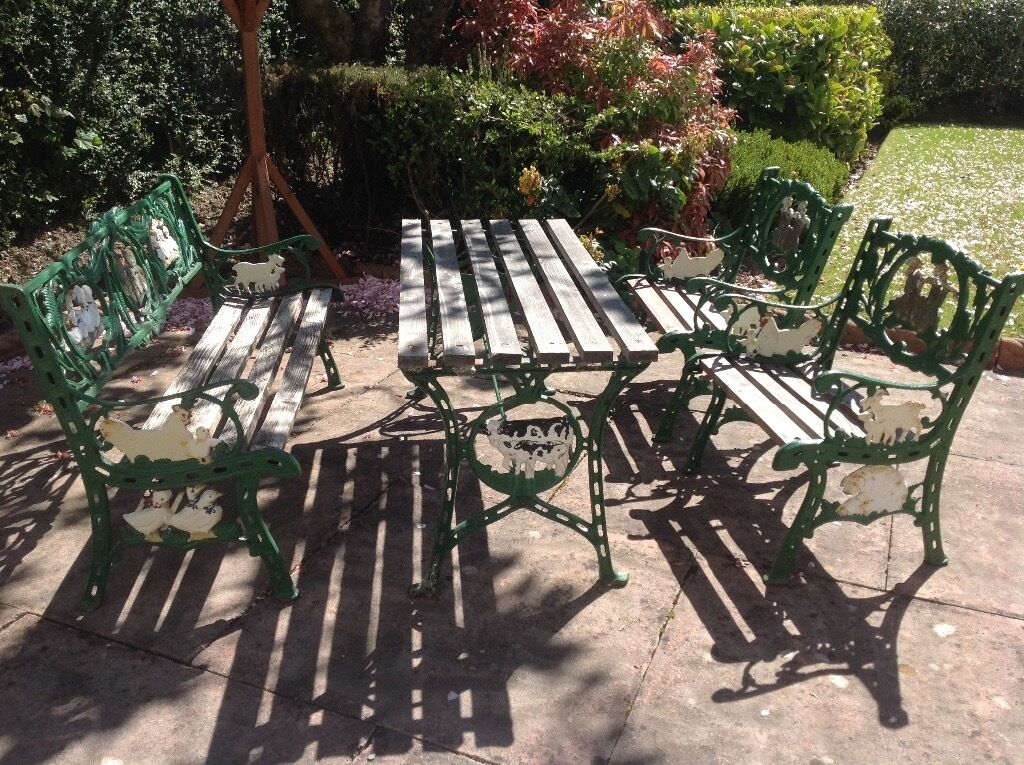 Cast Iron Outdoor Table And Chairs Part - 19: Childrenu0027s Cast Iron Garden Table And Chairs **not Suitable For Adults**