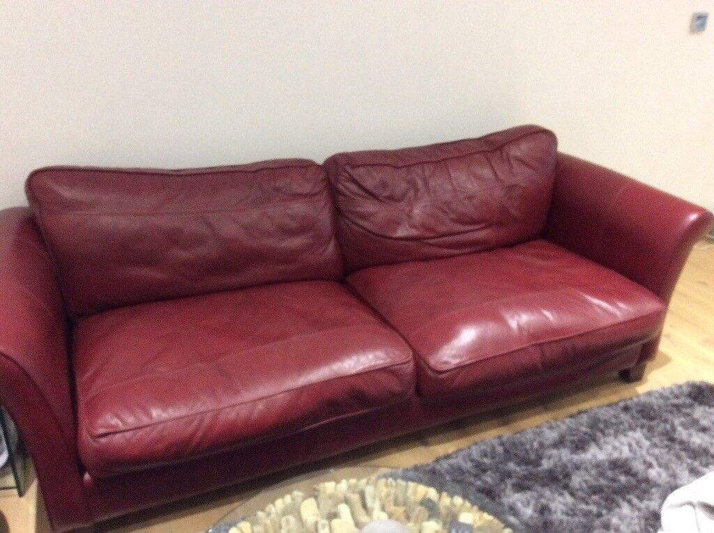 Deep Red Leather Sofa