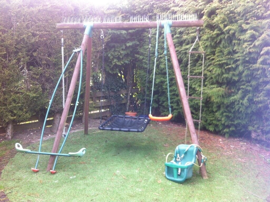 WOODEN GARDEN SWING SET 6 In 1 (FROM TODDLER TO TEEN)