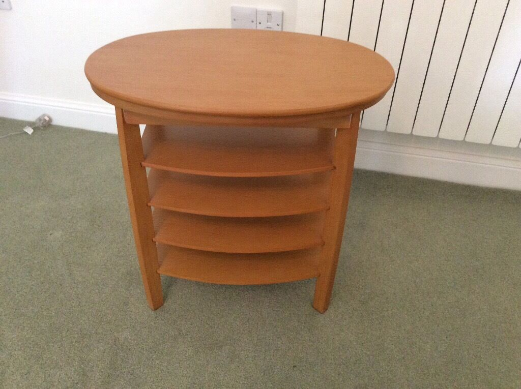 Fully Assembled Oak Finish Swivel Top Side Table For Sale