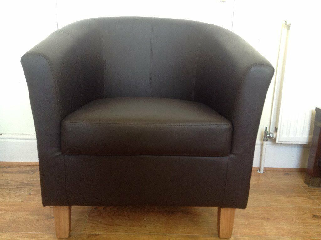 Brown Faux Leather Tub Bucket Chair   Excellent Clean Condition   Bargain!