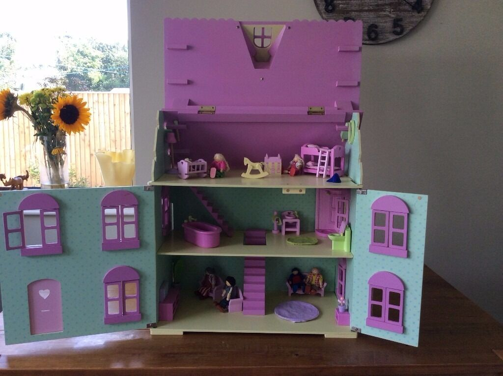 Early Learning Centre, Rose Cottage Dolls House + Furniture £30