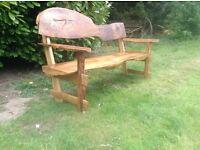 New Solid Oak Garden Bench 6ft Long Waney Edge Rustic Garden Furniture  Farmhouse Bench