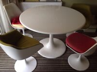 White Tulip Dining Table And Chairs, Retro Style