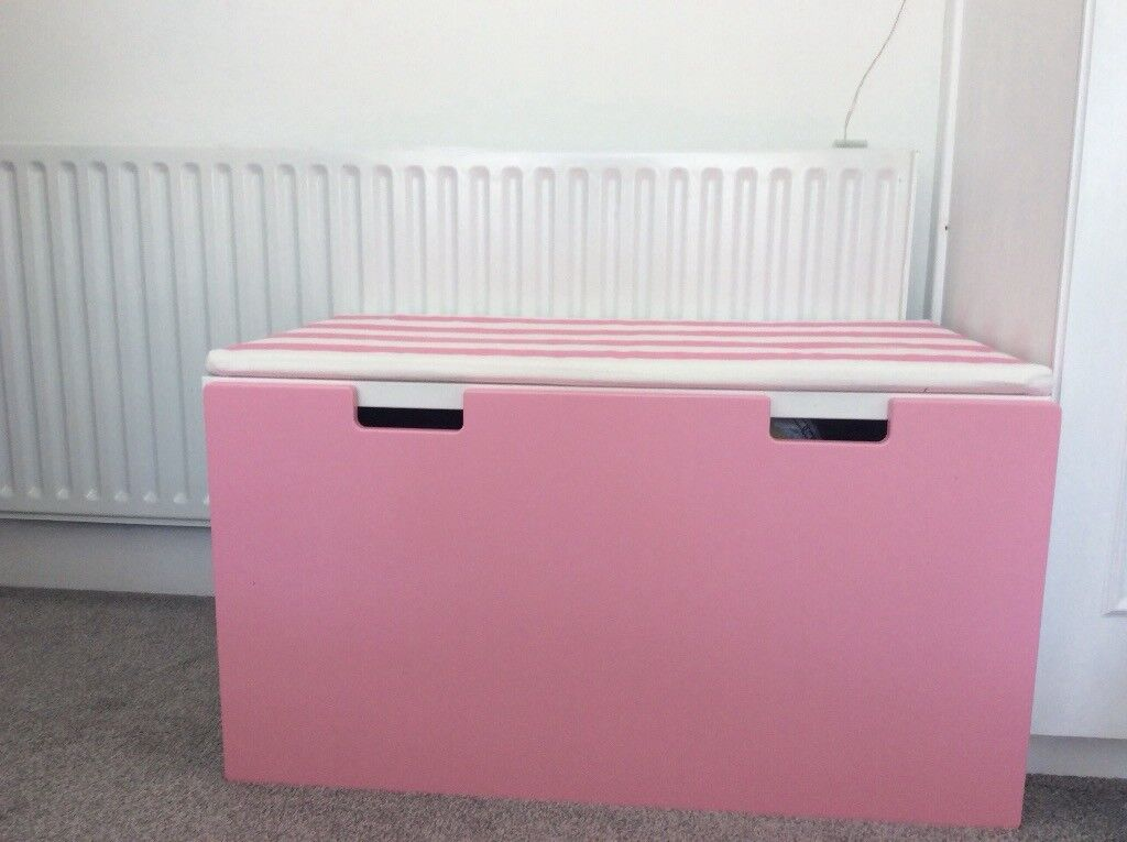 Pink Storage Bench, Cushioned Topper, Storage Box On Casters
