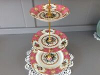 royal albert bone china 3 tier cake stand lady carlyle