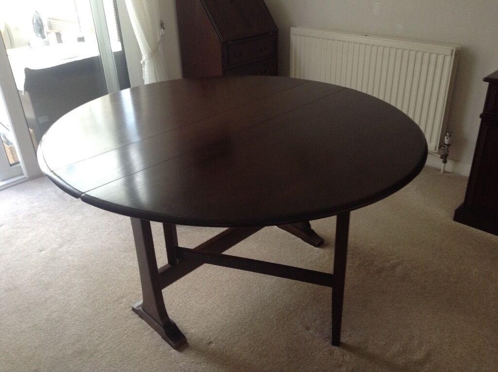 Ercol Windsor 610 Drop Leaf Table. Dark Wood Finish
