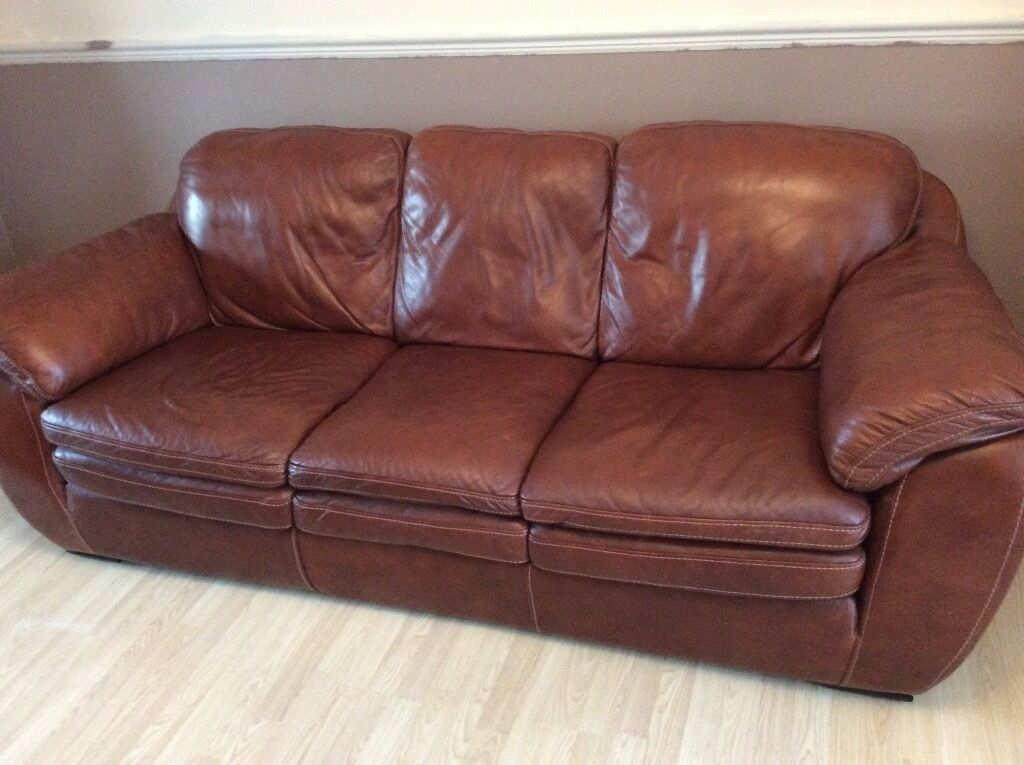 extra large 3 and 2 seater tan leather sofa - Tan Leather Sofa
