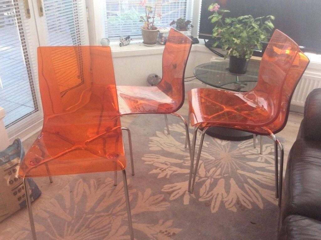 Charming EX JOHN LEWIS GEL/ACRYLIC DINING CHAIRS X 4