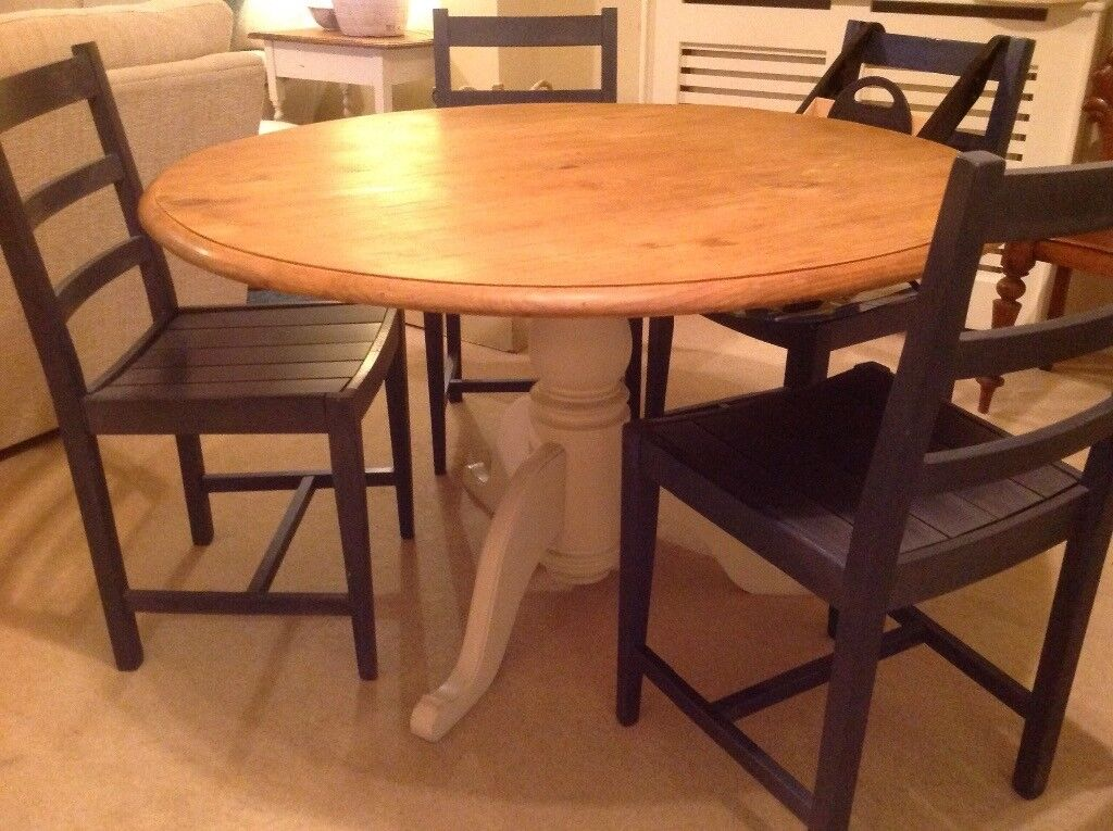 Round Pine Dining Table With Painted Legs. Four Dark Blue Vintage Habitat  Chairs.