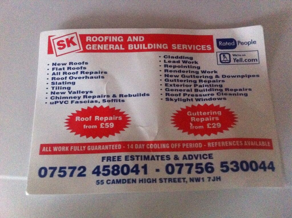 SK ROOFING SERVICES ,30% Discount On Emergency Repairs