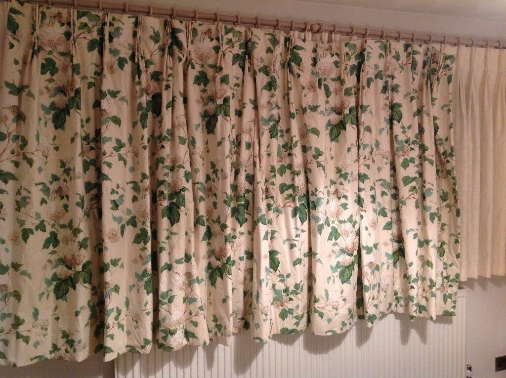 5 Ft Drop Curtains / Curtain Set   Sanderson Lavinia Fern Fabric   Floral  Print Curtain