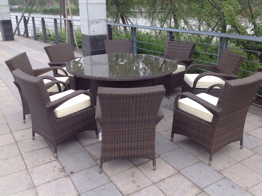 Perfect Paradise 8 Seater Round Brown Rattan Garden Furniture Dining Set Brand New  In Box Part 15