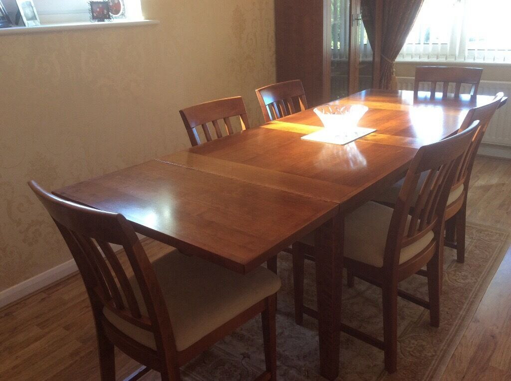 Marks And Spencer Cherry Wood Dining Table, Chairs And Display Cabinet