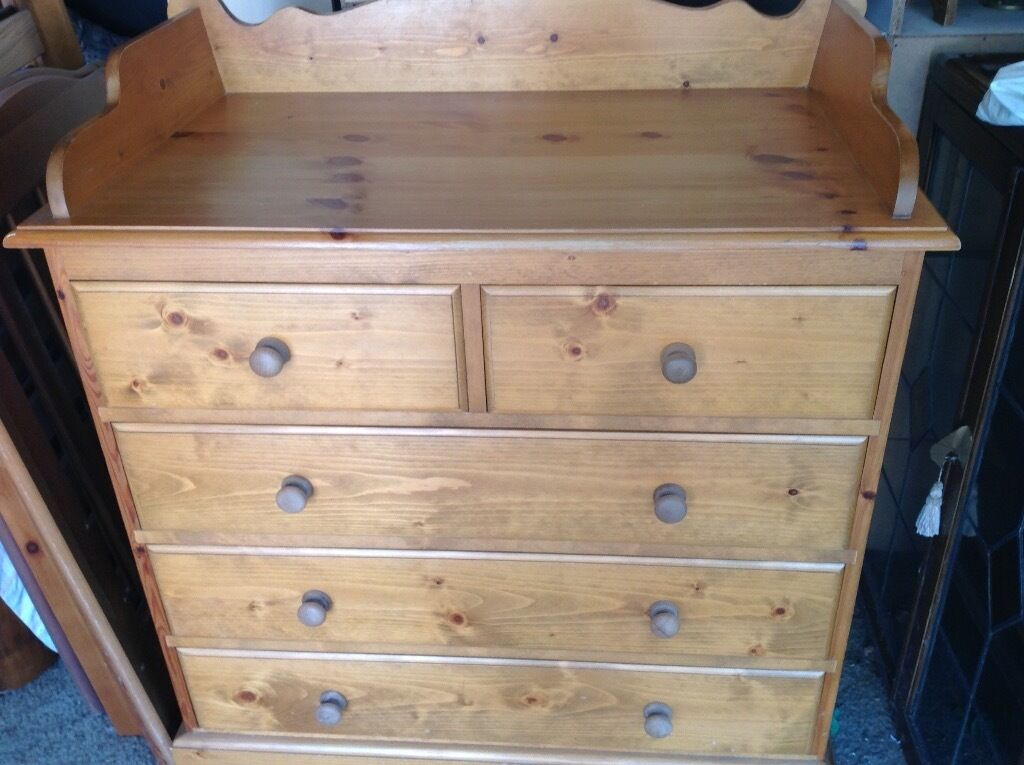 Great Solid Pine, Baby Changing Table And Drawers.