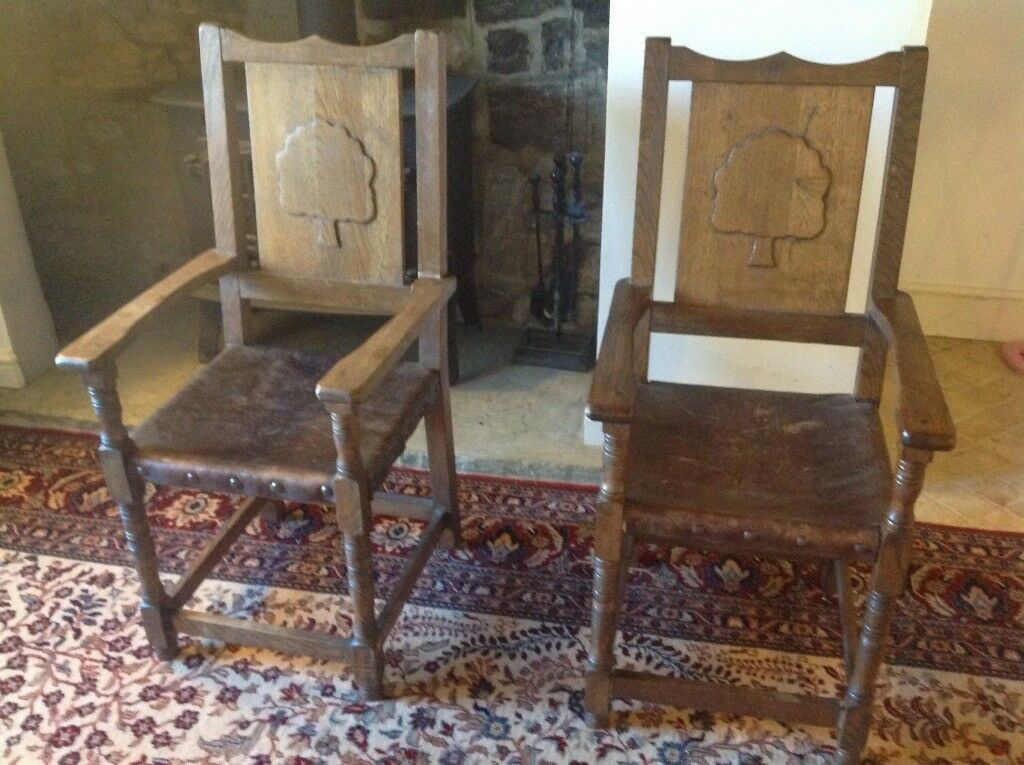 2 Wooden Carver Chairs With Leather Studded Seats