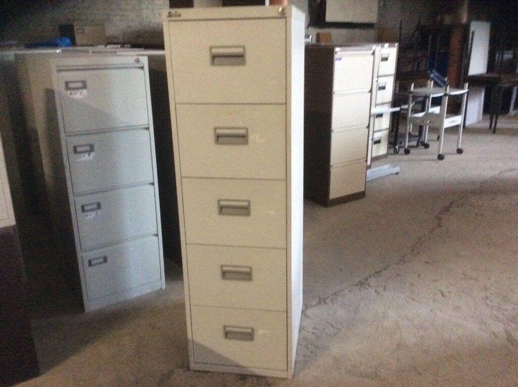 Silverline Five Drawer Grey Filing Cabinet