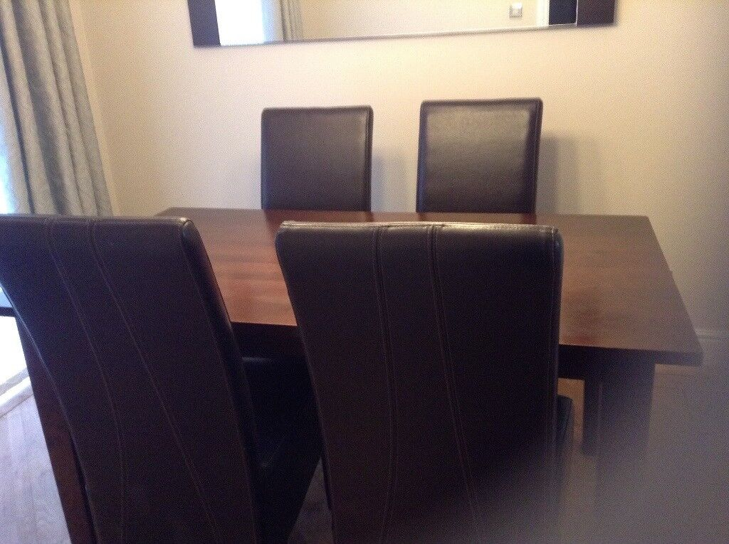 House Of Fraser Solid Dark Wood Dining Table With 4 Leather Chairs And Wall  Mirror