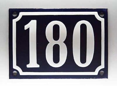 EMAILLE, EMAIL-HAUSNUMMER 180 in BLAU/WEISS um 1955