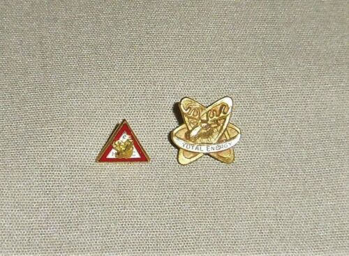2 Loyal Order of Moose Fraternal Enamel Lapel Pins TOTAL ENERGY FHC Vintage