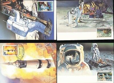 ST THOMAS TOME Prince 1980 1st Day Used Maxi Cards Space Moon (5 Items) [D367]