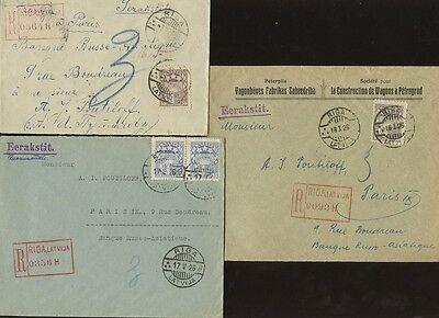 LATVIA REGISTERED 1925-26...3 ITEMS RIGA to PARIS