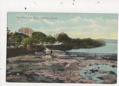 The River & Bund Gardens Poona India Vintage Postcard 854a
