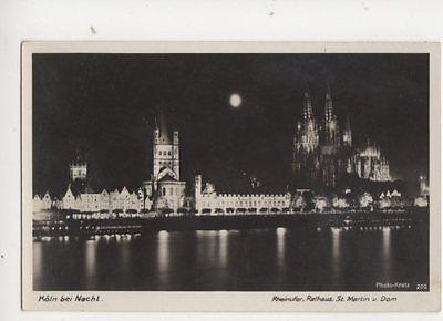 Koeln Bei Nacht Rheinufer Germany Vintage RP Postcard 151b