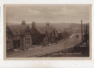 Station Road Newton Stewart Wigtownshire Vintage Postcard Gouldson
