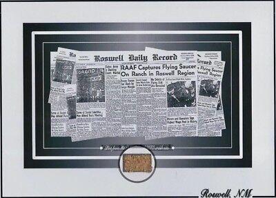 "ROSWELL NM 1947 UFO CRASH SITE, ALIENS SMALL AMOUNT OF DIRT ""PHOTO"" •COA•"