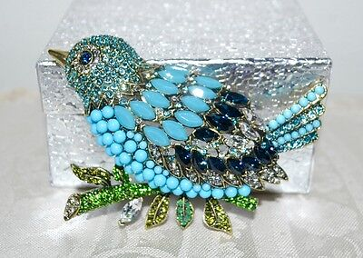 "New $230 HEIDI DAUS ""Marquise Madness"" Stunning Bird Brooch Pin Turquoise"