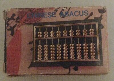 """Brass Abacus Green Marble Base Chinese Calculator Original Box And Guide Book 3"""""""