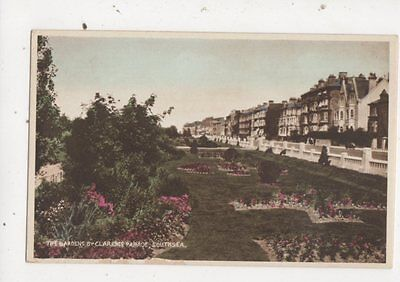 Gardens By Clarence Parade Southsea Vintage Postcard 703a