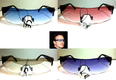 Bono Vertigo Concert Sunglasses  Africa Tour Blue Pink Purple Clear Brown