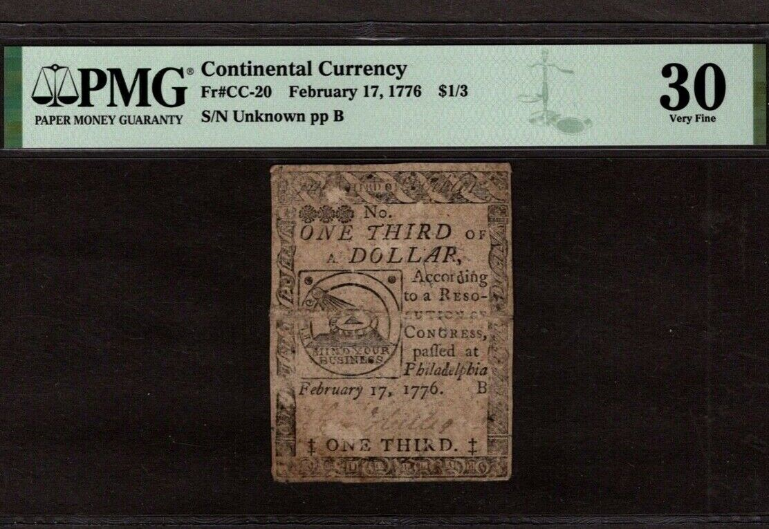 Continental Currency, CC-20, 1/3 Dollar, PMG 30, Pinholes - $41.00