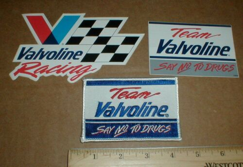 Team Valvoline Say No to Drugs 1980s Racing vtg hat jacket Patch NEW 2 Stickers
