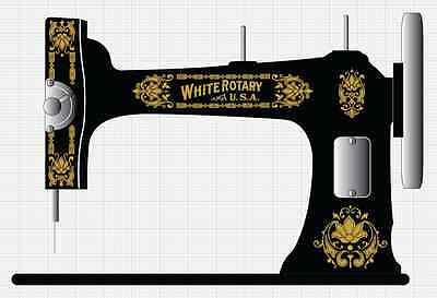 Faux White Rotary Sewing Machine Restoration Decals Gold Metallic 41021 for sale  Shipping to Nigeria
