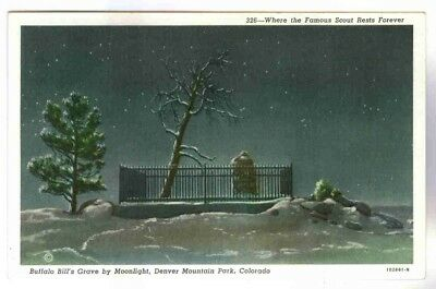 BUFFALO BILL'S GRAVE BY MOONLIGHT,BLANKETED IN SNOW,DENVER MTN PARK, POSTCARD for sale  Ortonville