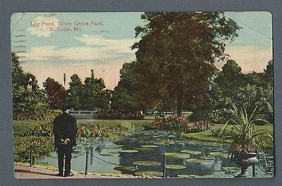 Vintage Postcard Lily Pond  Tower Grove Park  St  Louis  Mo  Posted 1914