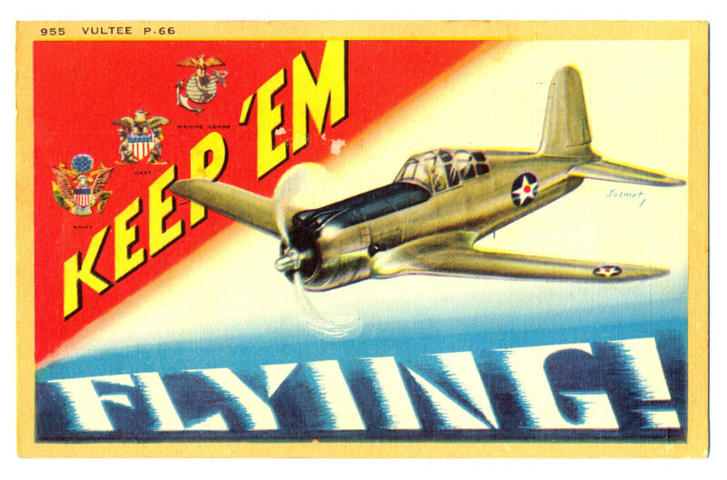 WWII US Army Air Force Lockheed P-38 Postcard 1945