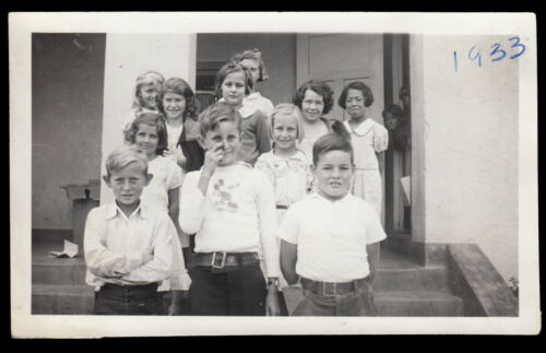 NAUGHTY SCHOOL BOY FLIPS FINGER in MICKEY MOUSE SHIRT ~1933 VINTAGE DISNEY PHOTO
