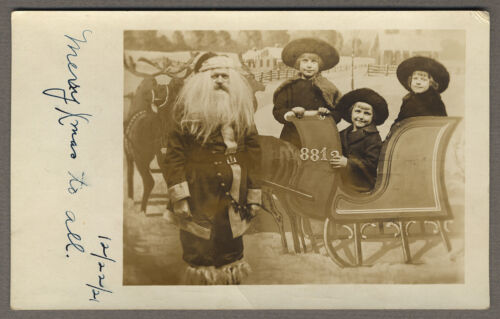 Antique Real Photo Postcard - Great Santa Claus with Girls 1921 RPPC