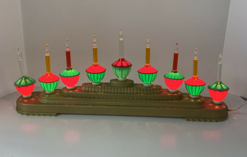 CHRISTMAS 9 BUBBLE LIGHT CANDELITE CANDOLIER  CANDELABRA NICE