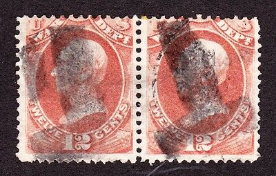 "US O89 12c War Department Used Pair w/ Bold ""T"" Fancy Cancels"