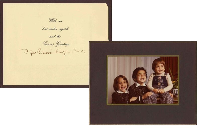 King Hussein of Jordan Signed Holiday Card